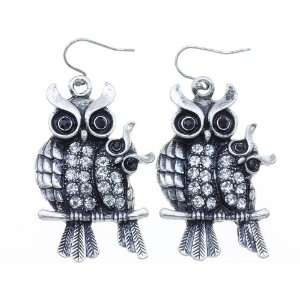 OWL JEWELRY   Antique Silver Tone Mommy & Baby Owl Crystal