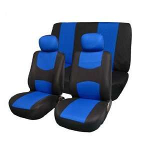 FH FB050112 Flat Cloth Car Seat Covers Blue / Black Color