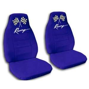 blue racing car seat covers for a 2009 Chevrolet Camaro. Automotive