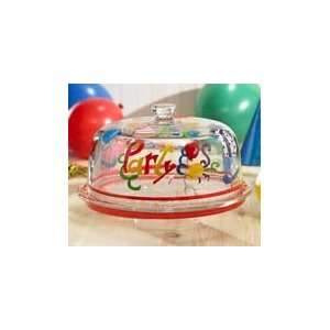 Birthday Party Glass Pedestal Cake Plate w Dome