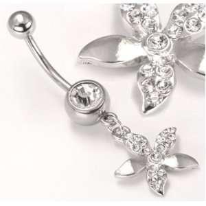 14g 12g 10g Crystal Gem Flower Dangle Belly Button Ring  14g 1/4~6mm