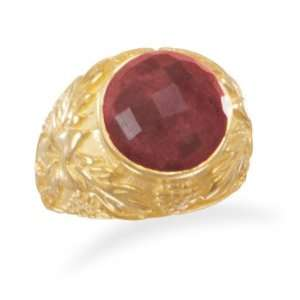 Ornate 14 Karat Gold Plated RoughCut Ruby Sterling Silver Ring Size 7