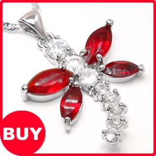 Free Necklace Red Garnet White Gold GP New Ruby Pendant