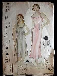 Vintage Sewing Pattern Simplicity #1560 Misses Slip 1930S 32B