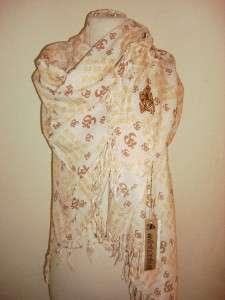 SIR ALISTAIR RAI Cream brown Prayer Wrap Scarf Gold Hope Stitching
