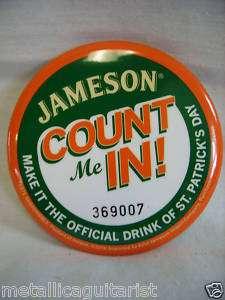 JAMESON IRISH WHISKEY   ST. PATRICKS DAY PROMO PIN NEW