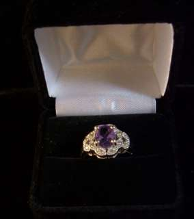 Ladies 14 KT White Gold Amethyst & Diamond Ring sz 7.5