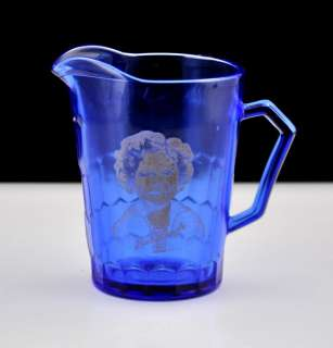 Vintage Hazel Atlas Shirley Temple Mini Milk Pitcher Cobalt Blue 4 1/2