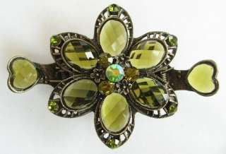 VARY COLORS SWAROVSKI CRYSTAL BRONZE FLOWER HAIR CLAW CLIP 135 VINTAGE