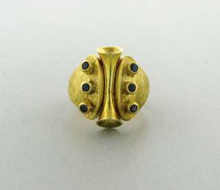 ESTATE ZOLOTAS GREECE 18K YELLOW GOLD SAPPHIRE RING
