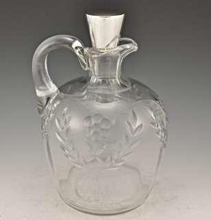 Cut Glass Oil Cruet/ Whiskey Bottle Sterling Stopper
