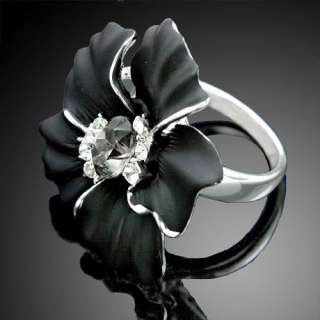 ARINNA Elegant Black Crystal Rose Gold GP Fashion Rings