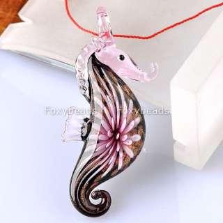 1P Pink Sea Horse Flower Murano Lampwrok Glass Charm Pendant&Necklace
