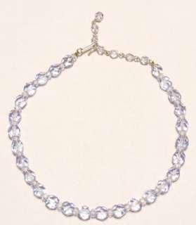Vintage Japan Faceted Blue Crystal Glass Bead Necklace