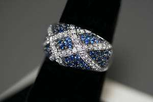 14K White Gold Blue Sapphire & White Diamond Ring with Under gallery