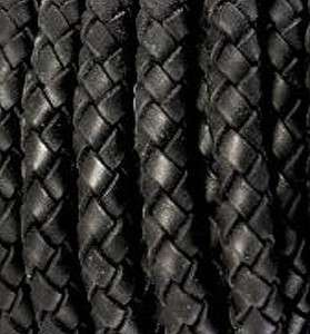 3mm Diameter Black Leather Braided Bolo Cord Beading Bracelets Woven
