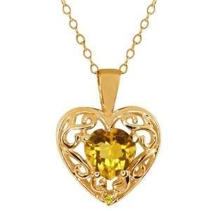 Ct Heart Shape Yellow Citrine Canary Diamond 10K Yellow Gold Pendant