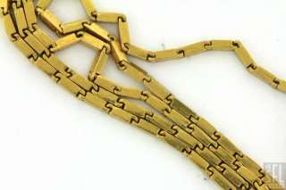 HEAVY VINTAGE EXTRA LONG 24K YELLOW GOLD BULLET LINK CHAIN NECKLACE 25