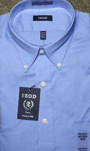 Izod Light Blue Button Down Collar Mens Dress Shirt Wrinkle Free