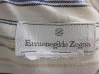 ERMENEGILDO ZEGNA Mens Beige Blue Dress Shirt Sz M