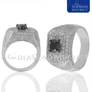 MENS 4.65CT TOTAL BLACK & WHITE DIAMOND ROYAL CROWN PINKY GOLD RING