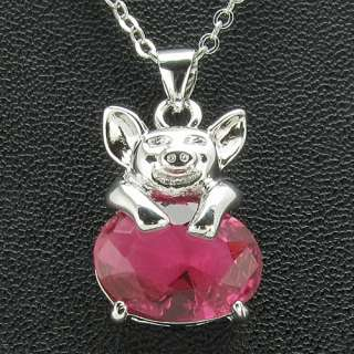 14mm Orchid Red Ruby Piggy Charms 18K White Gold Plated Pendant