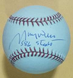 MAURY WILLS AUTOGRAPHED/SIGNED MLB BASEBALL W/586 STEALS LOS ANGELES