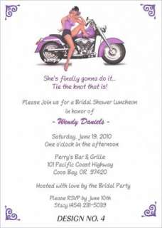 Pin up Girl Motorcycle Bridal Shower   Birthday Invites