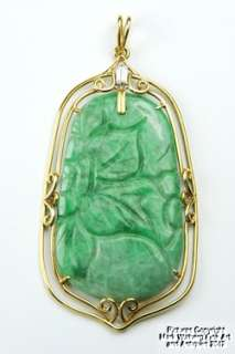 Chinese Jadeite Jade & 18K Gold Pendant, Baguette Cut Diamond, 20th C