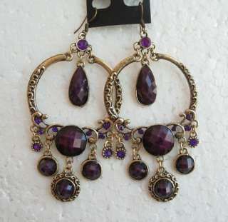 VARY COLORS VINTAGE SWAROVSKI CRYSTAL CHANDELIER DANGLE HOOK EARRINGS