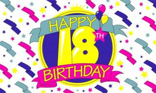 Happy 18th Birthday Flag 5 x 3 Party Banner Decoration