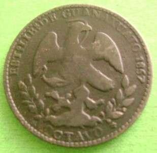 1857 MEXICO Brass 1/8 real Mexican Coin Guanajuato