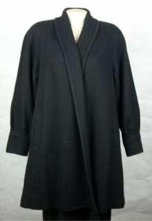 MISS NEW YORKER Womens WOOL BLEND Long Black SWING Coat Jacket size L