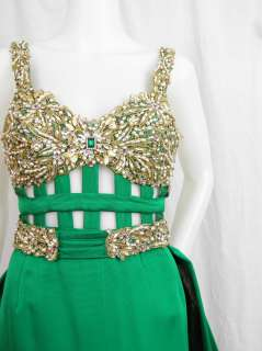 Yoly Munoz Emerald Green Couture Caped Evening Gown