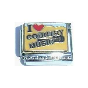 I Love Country Music Italian Charm Bracelet Jewelry Link