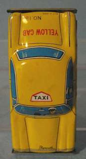 Vintage Japan Small PLYMOUTH Friction Tin YELLOW TAXI CAB Car Auto Toy