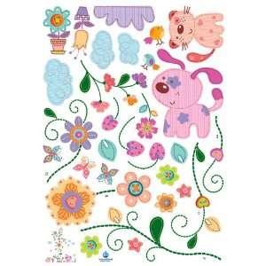 Puppies & Flowers Nursery/Kids Room Peel & Stick Wall Art