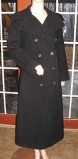 Vtg ILIE Wacs Long Black Wool Princess Pea Coat M GOTH