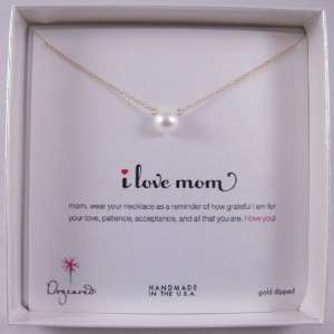 Dogeared Gold Dipped I Love Mom Necklace with Large Pearl 18