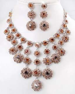 Exquisite Dangle Rhinestone Crystal Wedding Bridal Necklace Earrings