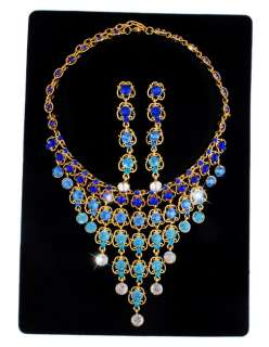 Blue Rhinestone Crystal Gold Plated Necklace&Earringset