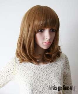 2011 New Fashion womens medium Wig full Hair Curl Wigs Black / Brown