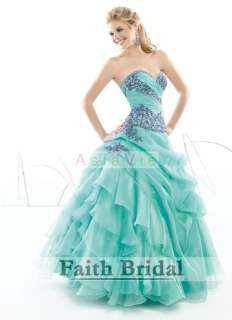 Custom Blue Embroidery Beads Wedding prom Ball Dress