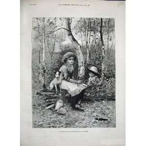 1886 WoodmanS Daughter Woods Little Girl Dog Country