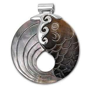 High Rhodium Plated Brass Designed Fish Shell Abalone Pendant Jewelry