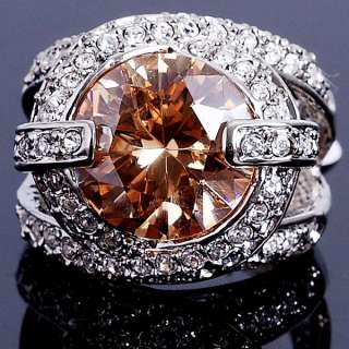 Big cz White Gold Plated Crystal Fashion Ring 20R