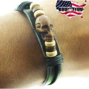 Skull & Beads Gothic Punk Rave Bracelet Wristband   Free