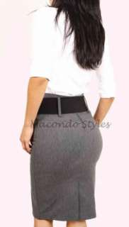 Career Fitted Long High Waist Knee Pencil Skirt Belt Belted fitted