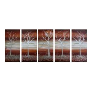 Urban Forest Abstract Large Metal Wall Art Group of 5
