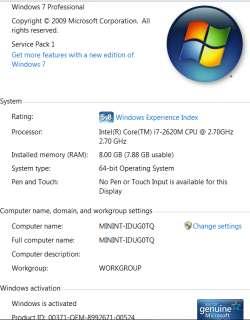 E6520 Laptop Intel Core i7 2620M 2.7ghz/4M Win7 Pro 8GB/250GB